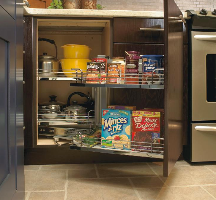 A modern kitchen with an open pantry